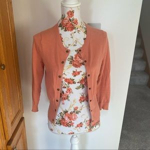 Coral Snap Front Cardigan by Moth